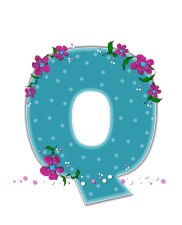 buzzing: The letter Q, in the alphabet set Fairy Tale Garden, is aqua.  Each letter is decorated with soft polka dots, flowers and buzzing bees.  Base of letter is covered in pink and white confetti.