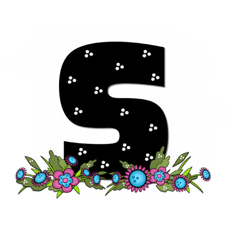 The letter S, in the alphabet set Country Lane Two is pink with black outline.  Letter sits on arrangement of country flowers in pink and blue. Stock Photo