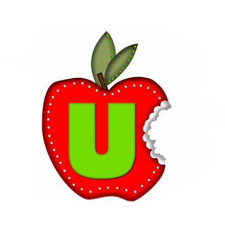 green been: The letter U , in the alphabet set Delicious Apple Bite, is bright green.  Letter is sitting on a large red apple from which a bite has been taken.  Apple is encircled with white polka dots.