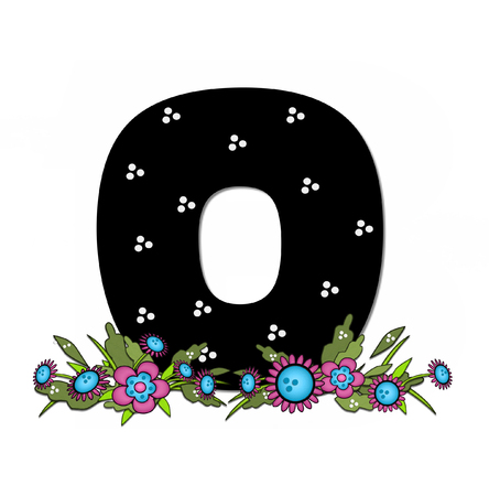arrangement: The letter O, in the alphabet set Country Lane Two is pink with black outline.  Letter sits on arrangement of country flowers in pink and blue.
