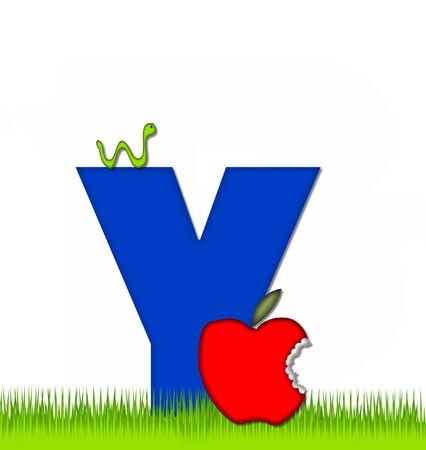 eaten: The letter Y, in the alphabet set Apple a Day Eaten Away, is blue.  Letter is sitting on green grass.  A green worm crawls around letter. Stock Photo