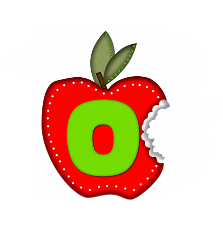 green been: The letter O, in the alphabet set Delicious Apple Bite, is bright green.  Letter is sitting on a large red apple from which a bite has been taken.  Apple is encircled with white polka dots.