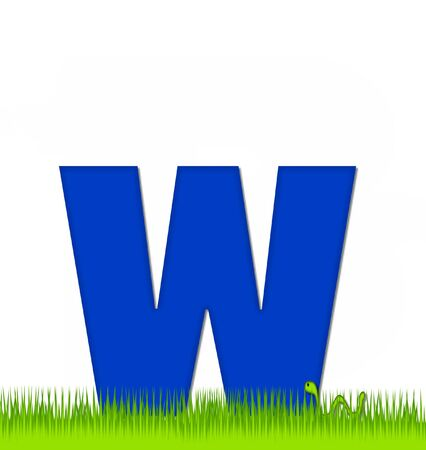 yard sign: The letter W, in the alphabet set Apple a Day Eaten Away, is blue.  Letter is sitting on green grass.  A green worm crawls around letter. Stock Photo