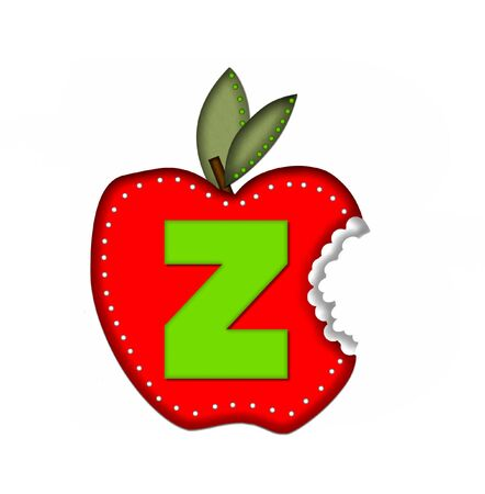 green been: The letter Z, in the alphabet set Delicious Apple Bite, is bright green.  Letter is sitting on a large red apple from which a bite has been taken.  Apple is encircled with white polka dots. Stock Photo