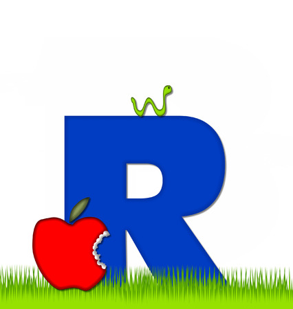 eaten: The letter R, in the alphabet set Apple a Day Eaten Away, is blue.  Letter is sitting on green grass.  A green worm crawls around letter.