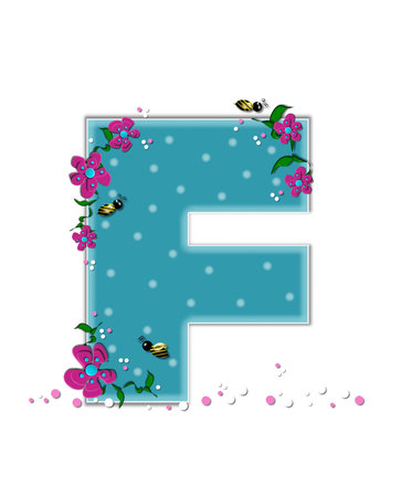 buzz: The letter F, in the alphabet set Garden Buzz, is aqua.  Each letter is decorated with soft polka dots, flowers and buzzing bees.  Base of letter is covered in pink and white confetti.