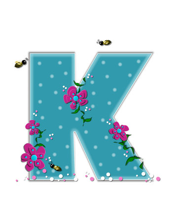 buzz: The letter K, in the alphabet set Garden Buzz, is aqua.  Each letter is decorated with soft polka dots, flowers and buzzing bees.  Base of letter is covered in pink and white confetti.