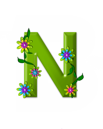 green flowers: The letter N, in the alphabet set Wonderland is 3d and colored green.  Letter is decorated with 3d flowers and vines.