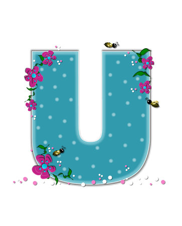 buzz: The letter U, in the alphabet set Garden Buzz, is aqua.  Each letter is decorated with soft polka dots, flowers and buzzing bees.  Base of letter is covered in pink and white confetti. Stock Photo