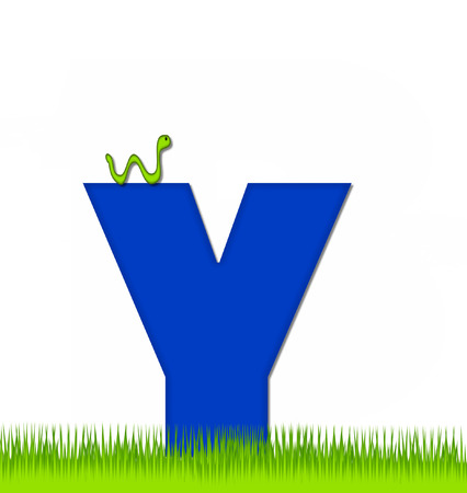 school yard: The letter Y, in the alphabet set Apple a Day Eaten Away, is blue.  Letter is sitting on green grass.  A green worm crawls around letter. Stock Photo