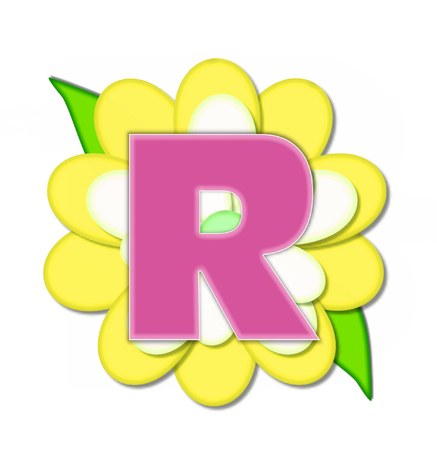The letter R, in the alphabet set Flower Pin Yellow, is pink with soft white outline.  Letter sits on large, yellow and white flower.