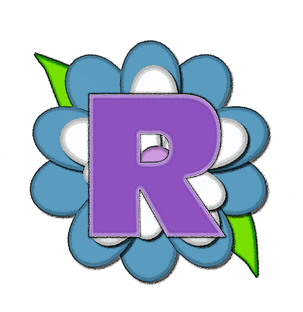 The letter R, in the alphabet set Flower Pin Blue, is purple with soft white outline.  Letter is sitting on blue and white flower.