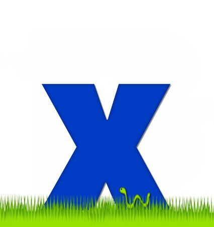 eaten: The letter X, in the alphabet set Apple a Day Eaten Away, is blue.  Letter is sitting on green grass.  A green worm crawls around letter.