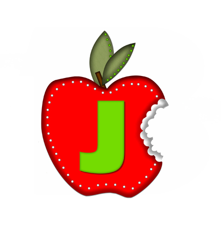green been: The letter J, in the alphabet set Delicious Apple Bite, is bright green.  Letter is sitting on a large red apple from which a bite has been taken.  Apple is encircled with white polka dots.