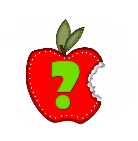 eating questions: Question mark, in the alphabet set Delicious Apple Bite, is bright green.  Letter is sitting on a large red apple from which a bite has been taken.  Apple is encircled with white polka dots. Stock Photo