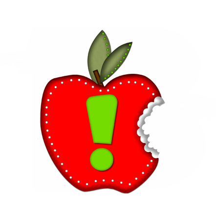 apple bite: Exclamation Point, in the alphabet set Delicious Apple Bite, is bright green.  Letter is sitting on a large red apple from which a bite has been taken.  Apple is encircled with white polka dots. Stock Photo