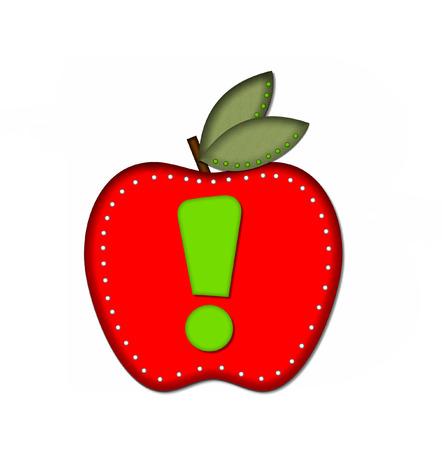 """point exclamation: Exclamation Point, dans l'alphabet set """"Délicieux d'Apple One"""", est vert clair. Lettre est assis sur une grosse pomme rouge. Apple est entouré de pois blancs."""
