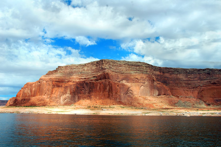 lake powell: Lake Powell landscape includes huge sandstone formations along its shores.