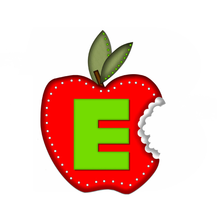 bite: The letter E, in the alphabet set Delicious Apple Bite, is bright green.  Letter is sitting on a large red apple from which a bite has been taken.  Apple is encircled with white polka dots.