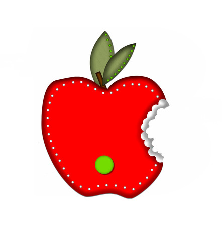 green been: Period, in the alphabet set Delicious Apple Bite, is bright green.  Letter is sitting on a large red apple from which a bite has been taken.  Apple is encircled with white polka dots.