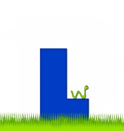 eaten: The letter L, in the alphabet set Apple a Day Eaten Away, is blue.  Letter is sitting on green grass.  A green worm crawls around letter.