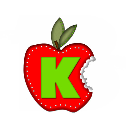 bite: The letter K, in the alphabet set Delicious Apple Bite, is bright green.  Letter is sitting on a large red apple from which a bite has been taken.  Apple is encircled with white polka dots.