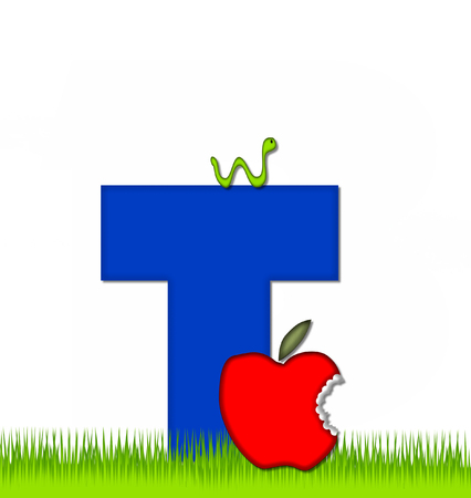 eaten: The letter T, in the alphabet set Apple a Day Eaten Away, is blue.  Letter is sitting on green grass.  A green worm crawls around letter. Stock Photo
