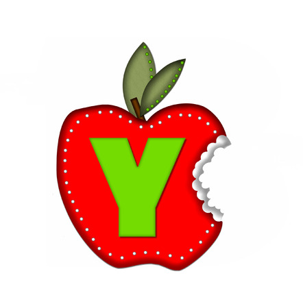 silouette: The letter Y, in the alphabet set Delicious Apple Bite, is bright green.  Letter is sitting on a large red apple from which a bite has been taken.  Apple is encircled with white polka dots.