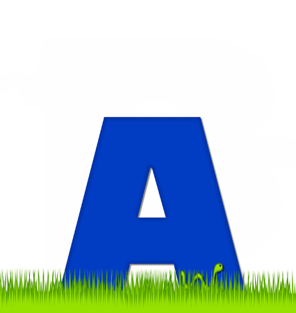 eaten: The letter A, in the alphabet set Apple a Day Eaten Away, is blue.  Letter is sitting on green grass.  A green worm crawls around letter.