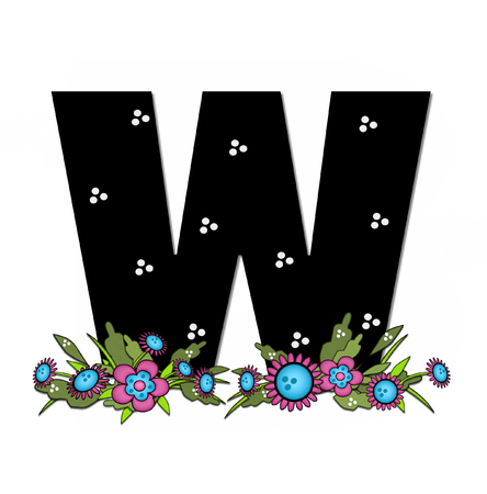 The letter W, in the alphabet set Country Lane Two is pink with black outline.  Letter sits on arrangement of country flowers in pink and blue.