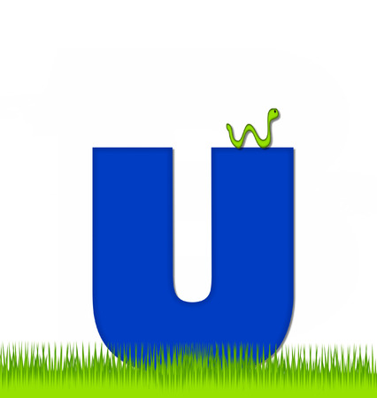 eaten: The letter U, in the alphabet set Apple a Day Eaten Away, is blue.  Letter is sitting on green grass.  A green worm crawls around letter.