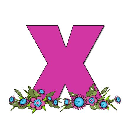 The letter X, in the alphabet set Country Lane Two is pink with black outline.  Letter sits on arrangement of country flowers in pink and blue.