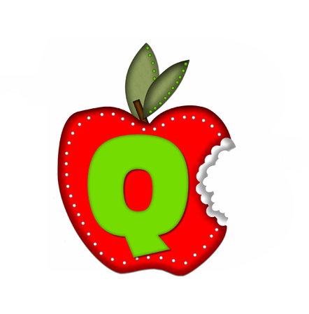 green been: The letter Q, in the alphabet set Delicious Apple Bite, is bright green.  Letter is sitting on a large red apple from which a bite has been taken.  Apple is encircled with white polka dots.