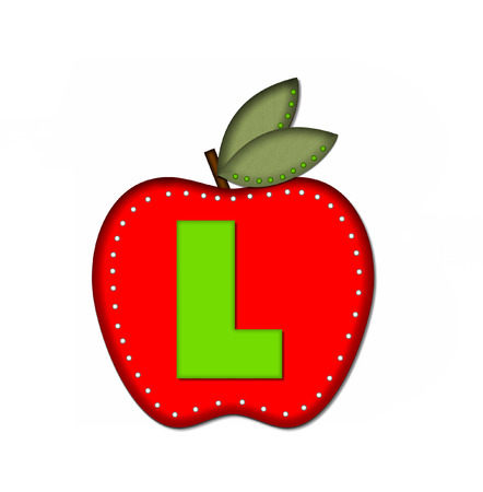 l red: The letter L, in the alphabet set Delicious Apple One, is bright green.  Letter is sitting on a large red apple.  Apple is encircled with white polka dots.