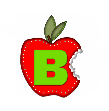 apple bite: The letter B, in the alphabet set Delicious Apple Bite, is bright green.  Letter is sitting on a large red apple from which a bite has been taken.  Apple is encircled with white polka dots.