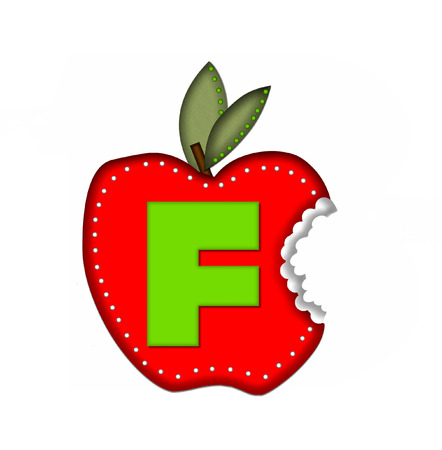 green been: The letter F, in the alphabet set Delicious Apple Bite, is bright green.  Letter is sitting on a large red apple from which a bite has been taken.  Apple is encircled with white polka dots. Stock Photo