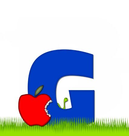 eaten: The letter G, in the alphabet set Apple a Day Eaten Away, is blue.  Letter is sitting on green grass.  A green worm crawls around letter.