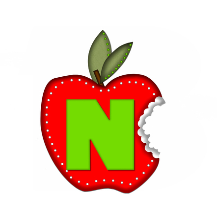 green been: The letter N, in the alphabet set Delicious Apple Bite, is bright green.  Letter is sitting on a large red apple from which a bite has been taken.  Apple is encircled with white polka dots.