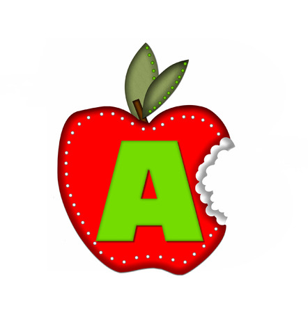 bite: The letter A, in the alphabet set Delicious Apple Bite, is bright green.  Letter is sitting on a large red apple from which a bite has been taken.  Apple is encircled with white polka dots. Stock Photo