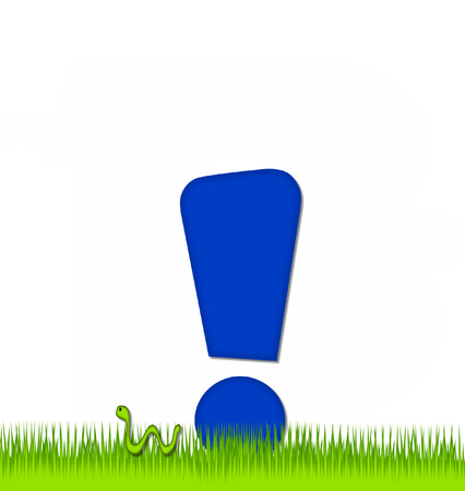 eaten: Exclamation point, in the alphabet set Apple a Day Eaten Away, is blue.  Letter is sitting on green grass.  A green worm crawls around letter. Stock Photo