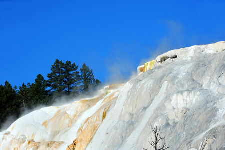national geographic: Heat and mist rises from the geothermal mounds of Upper Terrace at Mammoth Springs.  Both are in Yellowstone National Park.