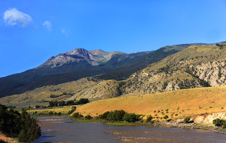Yellowstone River near Emigrant, Montana runs between two mountain ranges, the Gallatin and the Absaroka mountains.