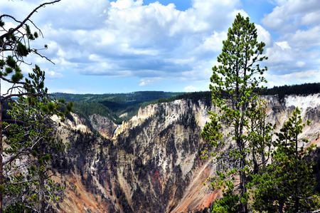 canyon walls: Distant view of Upper Falls in Yellowtone National Park is framed by the many colors of The Grand Canyon of the Yellowstone.  Steep canyon walls are tinted shades of brown, green and pink.