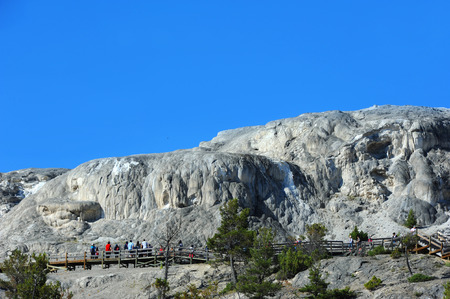 visitors area: Visitors admire the view of the formations of Upper Terrace in the Mammoth Hot Springs area of Yellowstone National Park.