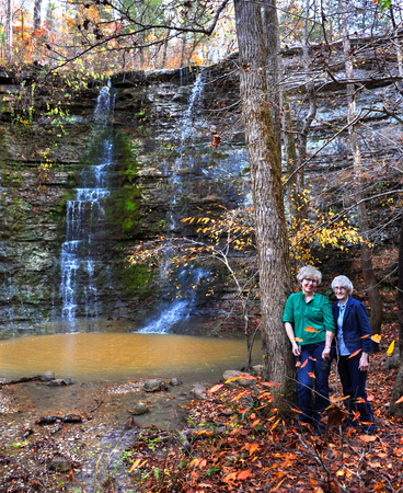 wilderness area: Mother and daughter hike to Twin Falls also known as Triple Falls in Northern Arkansas.  Falls are located in the Buffalo River National Wilderness Area.