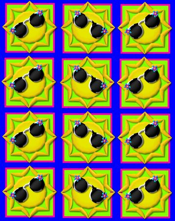 topped: Blue background is decorated with colorful squares.  Squares are topped with yellow sun wearing sunshades. Stock Photo