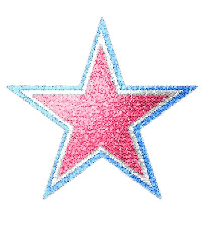 Large star is laid out in a layered mosaic of red, white and blue.  Background is white. Stock Photo