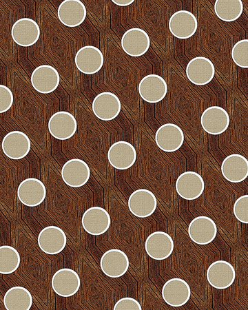 laid: Large, tan dots lay on a background of wooden pieces laid into a pattern mosaic. Stock Photo