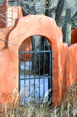 adobe wall: Adobe wall surrounds back yard.  Arched entry is guarded by a black iron gate.