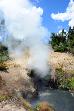 steam mouth: Dragons Mouth Spring spews steam and smoke from entrance.  Hot Spring is in the Mud Volcano area of Yellowstone National Park.